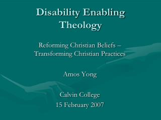 Disability Enabling Theology