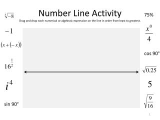 Number Line Activity Drag and drop each numerical or algebraic expression on the line in order from least to greatest.