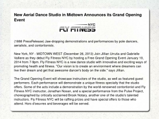 New Aerial Dance Studio in Midtown Announces