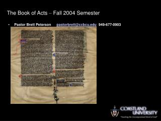 the book of acts   fall 2004 semester