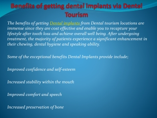 Benefits of getting dental implants via Dental Tourism