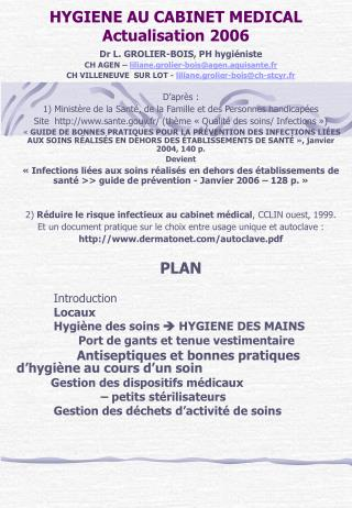 hygiene au cabinet medical actualisation 2006