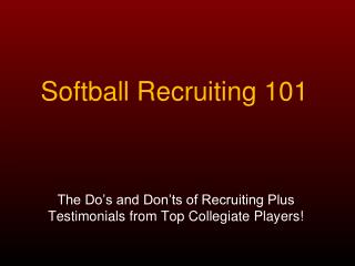 Softball Recruiting 101