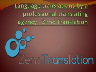 Language translations by a professional translating agency -
