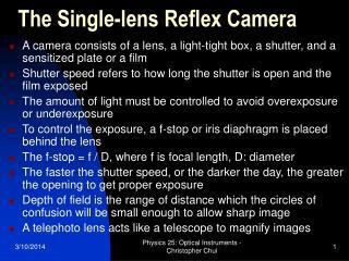the single-lens reflex camera