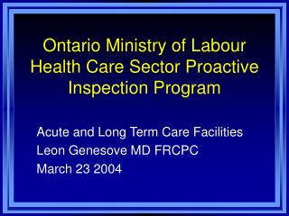 Ontario Ministry of Labour Health Care Sector Proactive Inspection Program