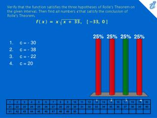 Verify that the function satisfies the three hypotheses of Rolles Theorem on the given interval. Then find all numbers c