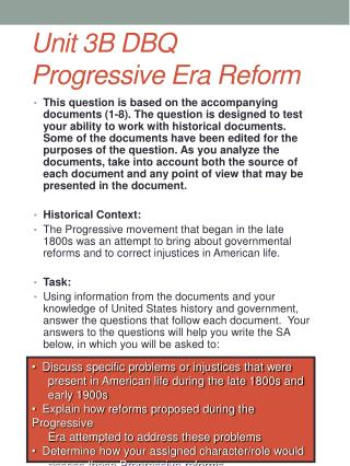Unit 3B DBQ Progressive Era Reform
