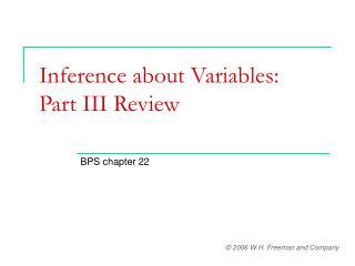 Inference about Variables:  Part III Review