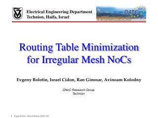 Routing Table Minimization for Irregular Mesh NoCs