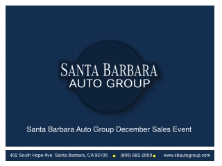 Santa Barbara Auto Group December Sales Event