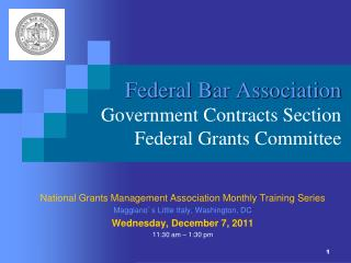 Federal Bar Association Government Contracts Section Federal Grants Committee