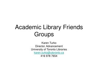 Academic Library Friends Groups