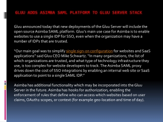Gluu adds Asimba SAML platform to Gluu Server Stack