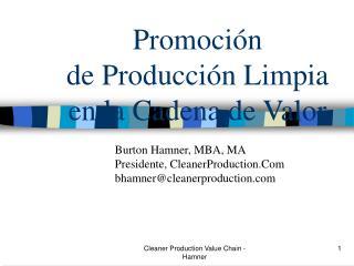 Promoci n  de Producci n Limpia en la Cadena de Valor