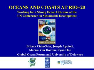OCEANS AND COASTS AT RIO20 Working for a Strong Ocean Outcome at the  UN Conference on Sustainable Development