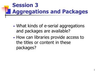 Session 3  Aggregations and Packages