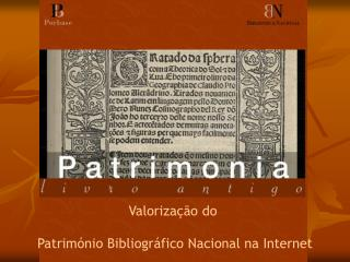 Valoriza  o do   Patrim nio Bibliogr fico Nacional na Internet