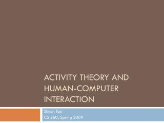 activity theory and human-computer interaction