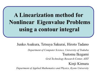A Linearization method for Polynomial Eigenvalue Problems  using a contour integral