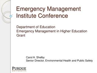 Emergency Management Institute Conference