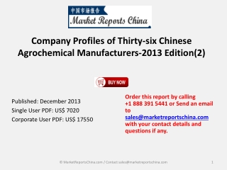 Agrochemical Manufacturers in China