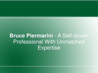 Bruce Piermarini - A Self-driven Professional With Expertise