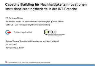 Capacity Building f r Nachhaltigkeitsinnovationen Institutionalisierungsbedarfe in der IKT-Branche