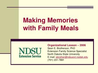 Making Memories  with Family Meals