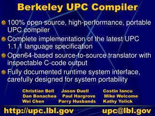 Berkeley UPC Compiler