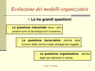 Evoluzione dei modelli organizzativi