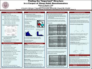 Finding the  Important  Structure                                                        in a Corpus of Sleep Habit Ques