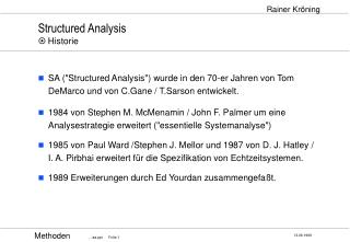 Structured Analysis   Historie