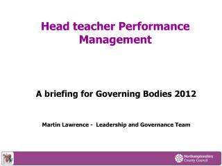 Head teacher Performance Management