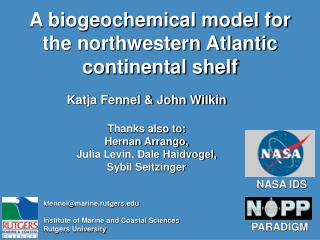 A biogeochemical model for the northwestern Atlantic continental shelf