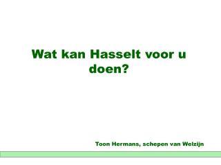 Wat kan Hasselt voor u doen