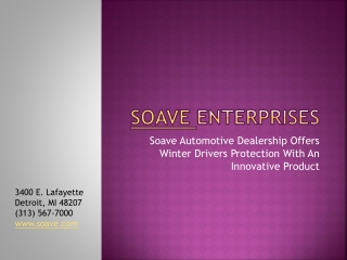 Soave Automotive Dealership Offers Winter Drivers Protection
