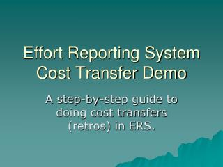 Effort Reporting System Cost Transfer Demo