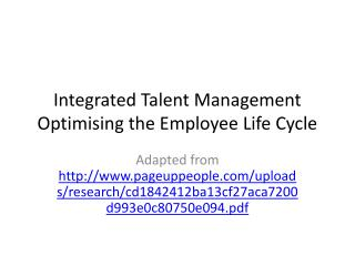 Integrated Talent Management Optimising the Employee Life Cycle