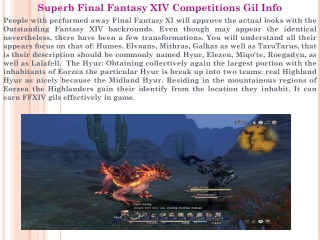 Superb Final Fantasy XIV Competitions Gil Info