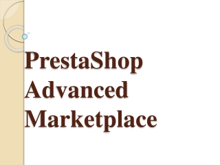 PrestaShop Advanced Marketplace