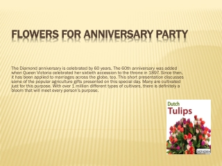 Flowers for Anniversary party