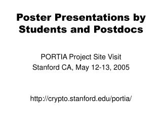Poster Presentations by Students and Postdocs