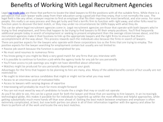 5Advantages of Functioning With Legal Recruitment Agencies