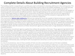 8Complete Details About Building Recruitment Agencies