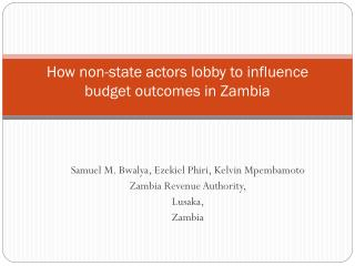 how non-state actors lobby to influence budget outcomes in zambia