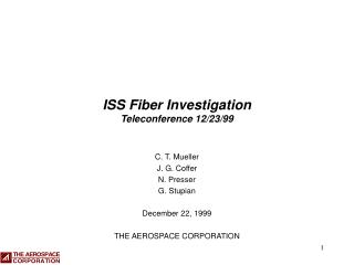 ISS Fiber Investigation Teleconference 12