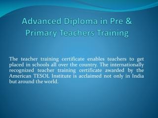 Advanced Diploma in Pre
