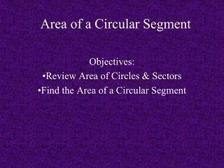 Area of a Circular Segment