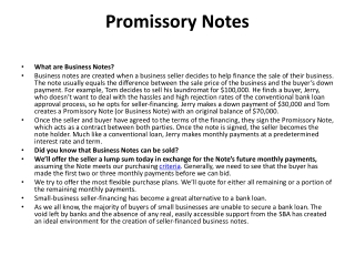 Promissory Notes Secured By A Business | Business Notes | Se
